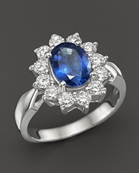 Bloomingdale's Sapphire And Diamond Statement Ring In 14K White Gold Blue