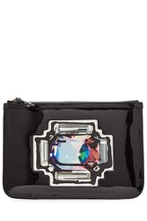 Pierre Hardy Patent Leather Clutch With Printed Patch Black