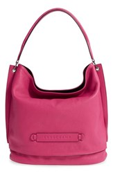 Longchamp '3D' Leather Hobo Pink Cyclamen