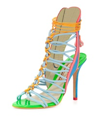 Sophia Webster Lacey Strappy High Heel Sandal Blue Multi