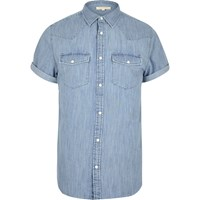 River Island Mens Bleached Blue Western Denim Shirt