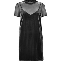 River Island Womens Grey Metallic Sheer T Shirt Dress