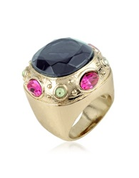 A Z Collection Large Crystal Stone Ring Gold
