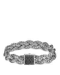 John Hardy Classic Chain Silver Small Braided Bracelet With Black Sapphire Black Silver