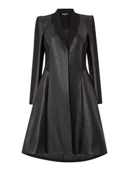 Biba Heritage Faux Leather And Stretch Panelled Coat Black