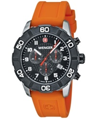 Wenger Men's Swiss Chronograph Roadster Orange Silicone Strap Watch 45Mm 01.0853.103