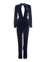 Little White Lies Long Sleeved Collared Cut Out Jumpsuit Navy
