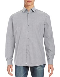 Strellson Jayden Cotton Geo Patterned Button Front Shirt White Grey