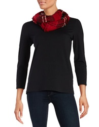 Lord And Taylor Plaid Loop Scarf Red