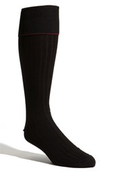Men's Big And Tall Nordstrom Over The Calf Pima Cotton Blend Socks Black