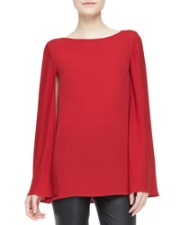 Ralph Lauren Black Label Noelle Long Sleeve Cape Top Holiday Red