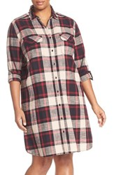 Caslonr Plus Size Women's Caslon Two Pocket Plaid Shirtdress Red Plaid