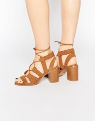 Oasis Lace Up Block Heeled Sandal Tan