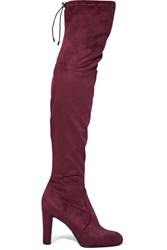 Sam Edelman Kent Stretch Suede Over The Knee Boots Burgundy