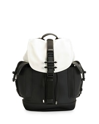 Givenchy Obsedia Leather Flap Backpack Black White