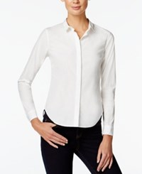 Armani Exchange Long Sleeve Button Down Shirt Solid White