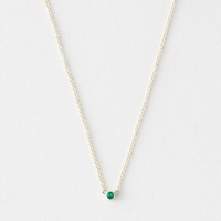 Grace Lee Emerald Bezel Necklace Yellow Gold