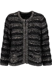 Maje Metallic Boucle Knit Cardigan Black