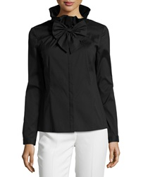 Studio 148 By Lafayette 148 New York Bow Front Long Sleeve Woven Blouse Black