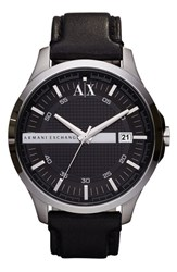 Men's Ax Armani Exchange Leather Strap Watch 46Mm Black