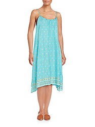 Saks Fifth Avenue Embellished Tank Dress Turquoise