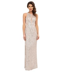Aidan Mattox Sequin Long Column Gown With Illusion Insets And Back Champ Silver Women's Dress Beige