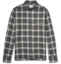 Simon Miller Slim Fit Bexar Checked Wool Gauze Shirt Anthracite