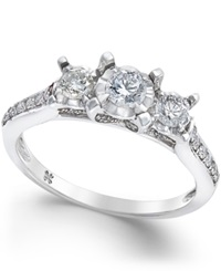 Macy's Diamond 3 Stone Engagement Ring 1 2 Ct. T.W. In 14K White Gold No Color