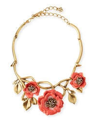 Oscar De La Renta Painted Flower Statement Necklace