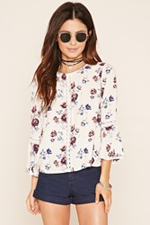 Forever 21 Floral Print Crochet Top