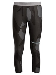 The Upside Geo Camouflage Print Cropped Performance Leggings Grey Multi
