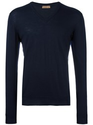 Etro V Neck Jumper Blue