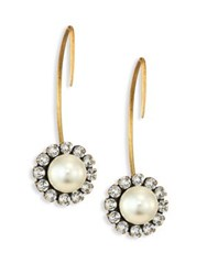 Marc Jacobs Crystal And Faux Pearl Reverse Hoop Earrings Gold Cream