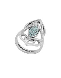 Lucky Brand Pave Peacock Silvertone Ring
