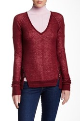 L.A.M.B. Laced Up V Neck Sweater Red