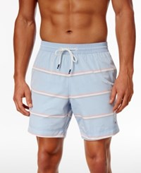 Tommy Hilfiger Men's Suntree Striped Swim Trunks French Blue
