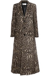 Saint Laurent Leopard Print Brushed Knitted Coat Leopard Print