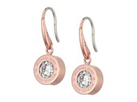 Michael Kors Cubic Zirconium Logo Drop Earrings Rose Gold Clear Earring