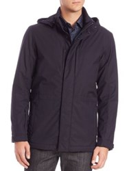 Z Zegna Two In One Tech Merino Wool And Ripstop Field Jacket Navy