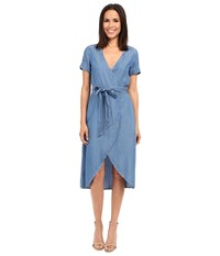 7 For All Mankind Denim Wrap Dress Clear Water Blue Women's Dress