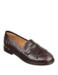 Marc Fisher Roryer Leather Fringe Accented Loafers Brown