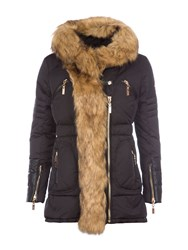 Relish Hooded Parka With Faux Fur Trims Black