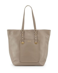 Badgley Mischka Ava Pebbled Leather North South Tote Bag Light Gray