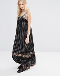 Hazel Boho Border Print Maxi Dress Black