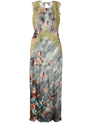 Alberta Ferretti Lace Detail Floral Print Dress Multicolour