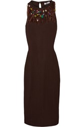 Moschino Cheap And Chic Embellished Stretch Knit Mini Dress Brown