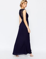 Elise Ryan Maxi Dress With Lace Back Detail Navy
