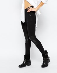 G Star G Star Stretch Jeans With Leather Look Panel Black