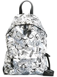 Moschino Shopping Bag Print Backpack White