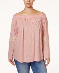 Stoosh Plus Size Crochet Trim Off The Shoulder Knit Top Pink